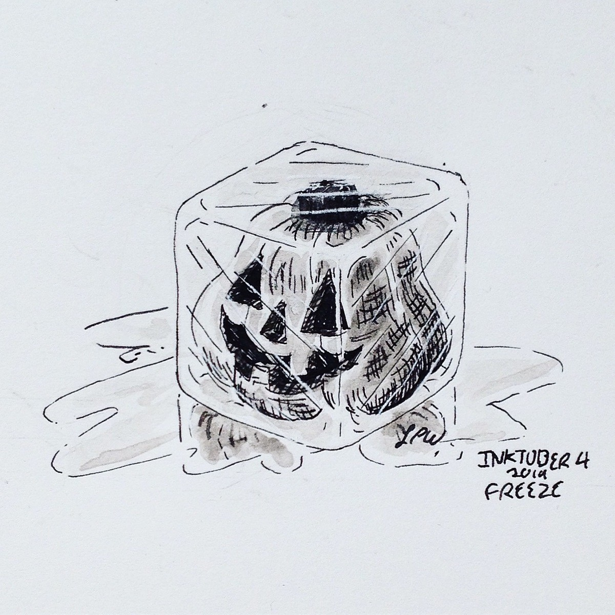Inktober Day 4: Freeze. Inktober Day 4: FREEZE join list: WatercolorAndOrInk (16 subs)Mention History I'm not going to saw how long it took me to make that cube