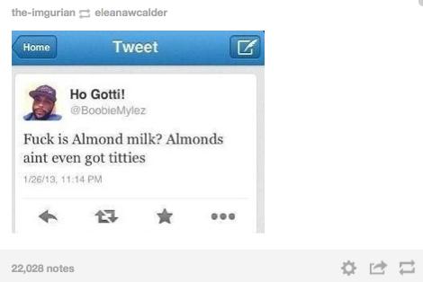 ". . Eloo' Fuck is Almond milk? Almonds aint even got titties in tly A H"" llt, 028 notes"