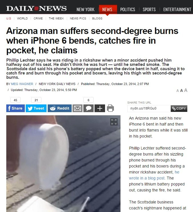 iPhone 6 Plus: Hot buy.. Sauce: . US CRIME THE WEEK NEWS) PICS BLESS Arizona man suffers burns when iphone 6 bends, catches fire in pocket, he claims Phillip Li
