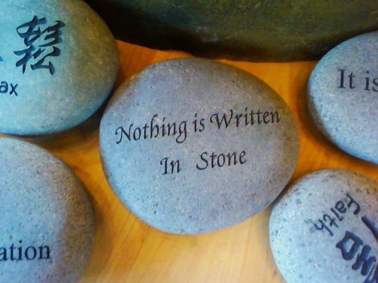 Irony. .. Of course not, Stone is purely a spoken language. There is no writing system yet developed to capture the language in writing.