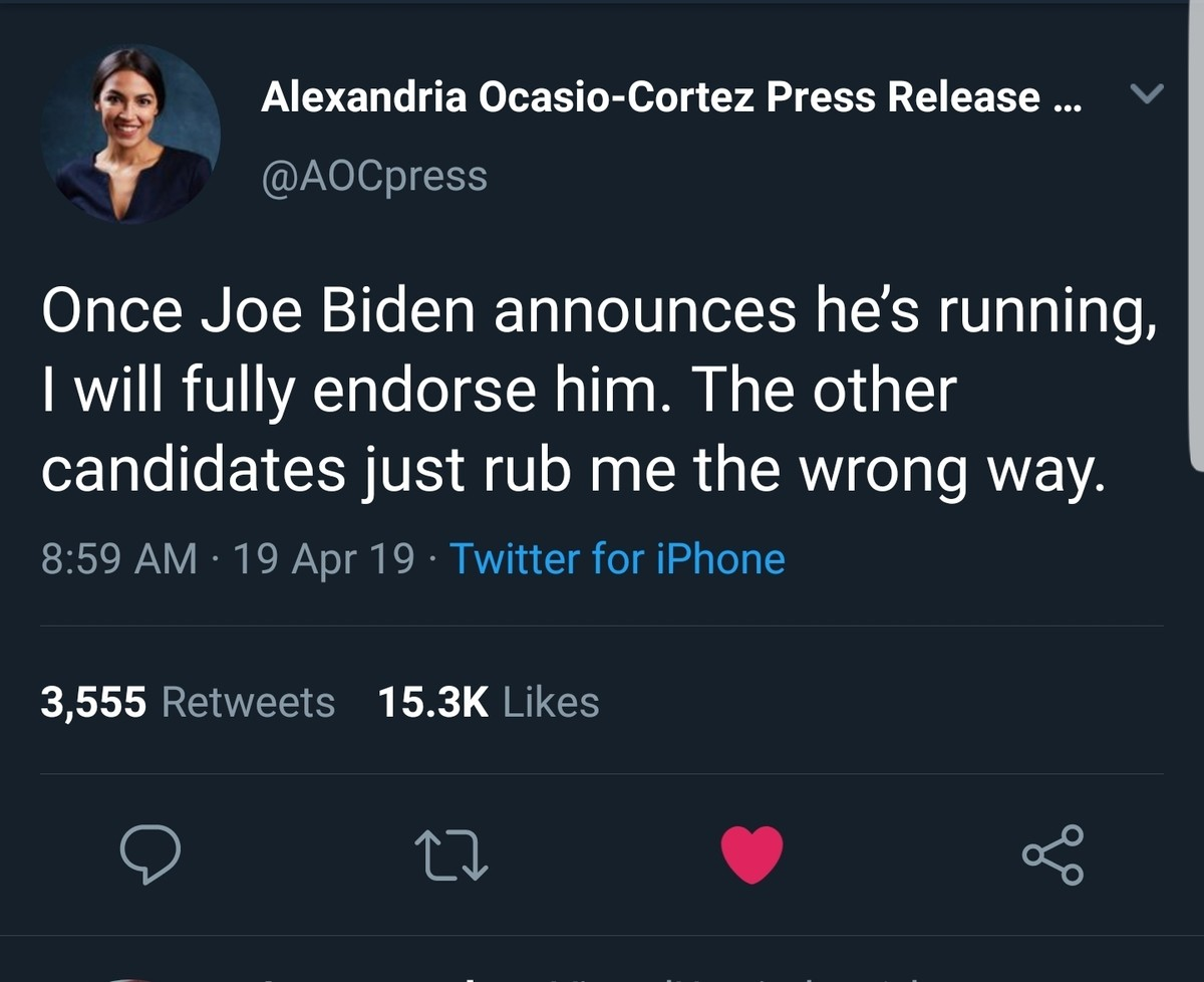 Is this a Parody?. .. So Biden rubs you the right way?
