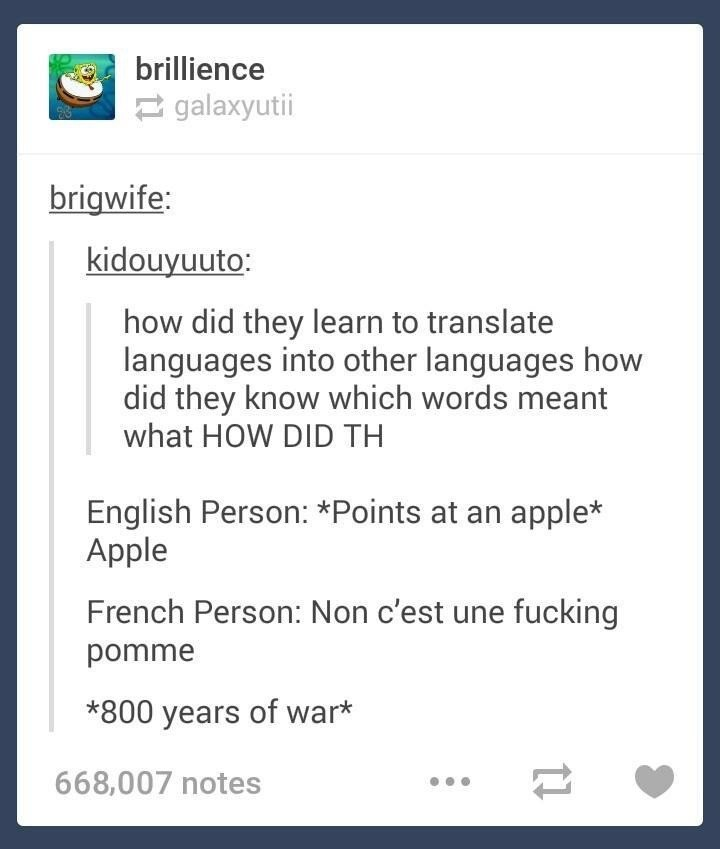 """It's always the French. .. points at potato Frenchman: """"Ground apple"""""""