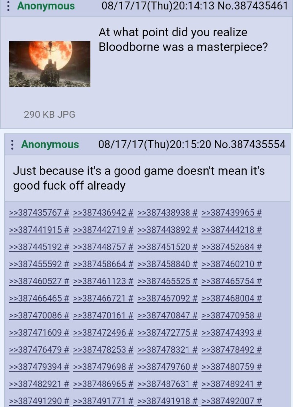 It's /v/. Nuff said. . 5 Anonymous 08/ 17/ 17( Thu) 20: 14: 13 . 38743 5461 At what point did you realize Bloodborne was a masterpiece? 290 KB JPG 5 Anonymous 0
