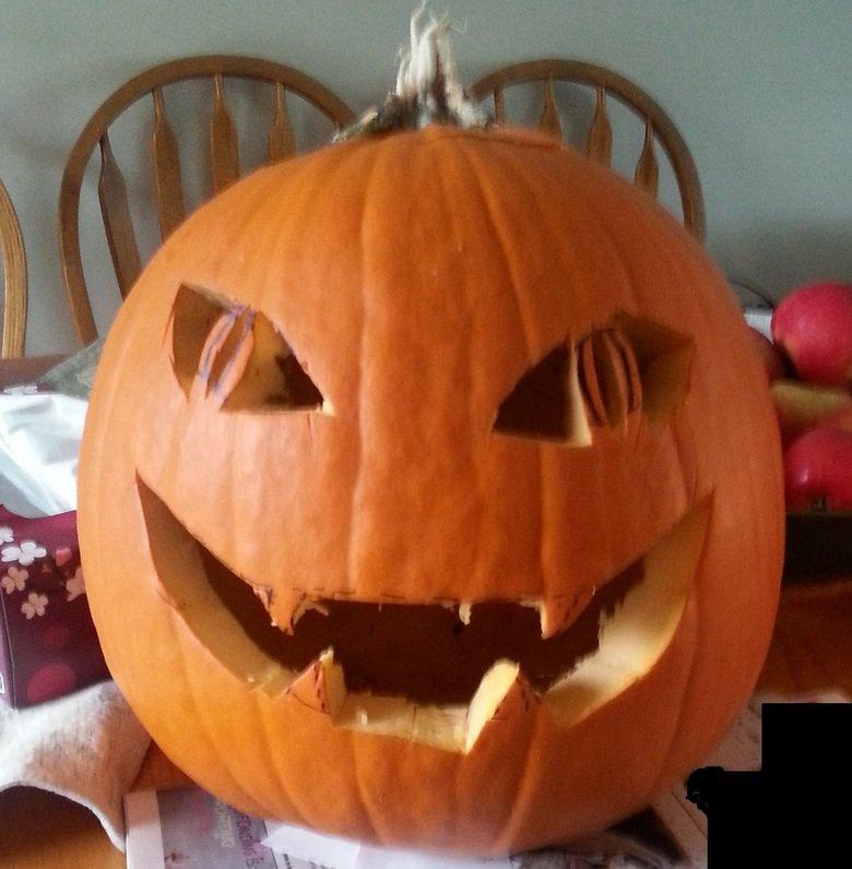 Jack-O-Lantern. The Jack-O-Lantern I made for Halloween 2015.. It kinda looks like Asriel Dreemur from Undertale