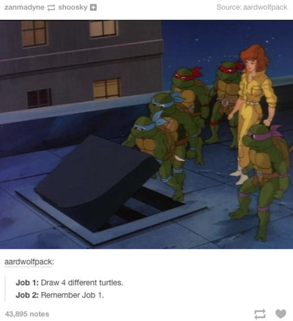 Job 1. .. Wasnt that fifth turtle chick in the cartoon too? Seems like her, blue ribbon and everything