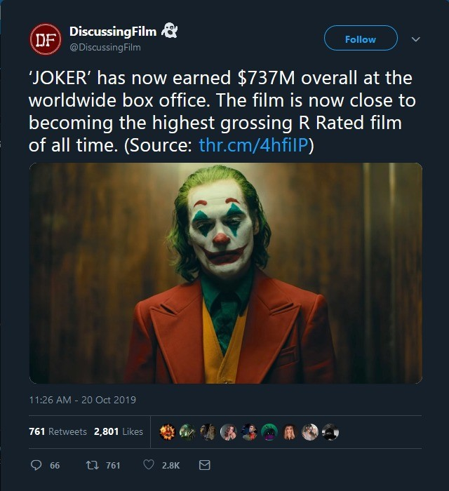 joker. .. maybe they'll start making more R rated now. hate family friendly movies