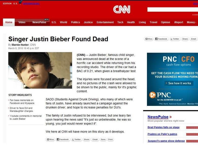 """Justin Bieber CNN obituary. Using the """"cool trick"""" in the top 10, I made this CNN obituary, to support the cause!<br /> EDIT: !!! Forgot"""