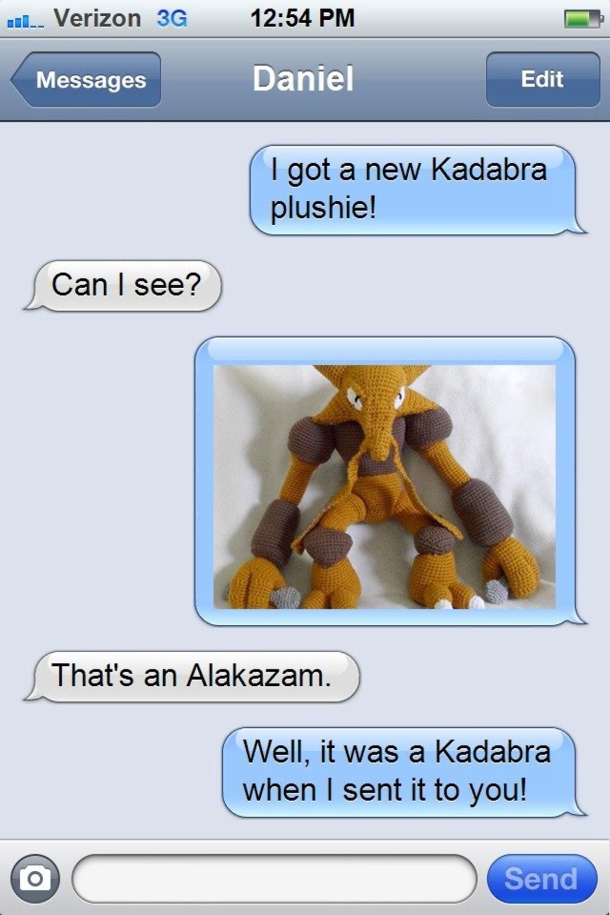 Kadabra plushie. .. Clever!