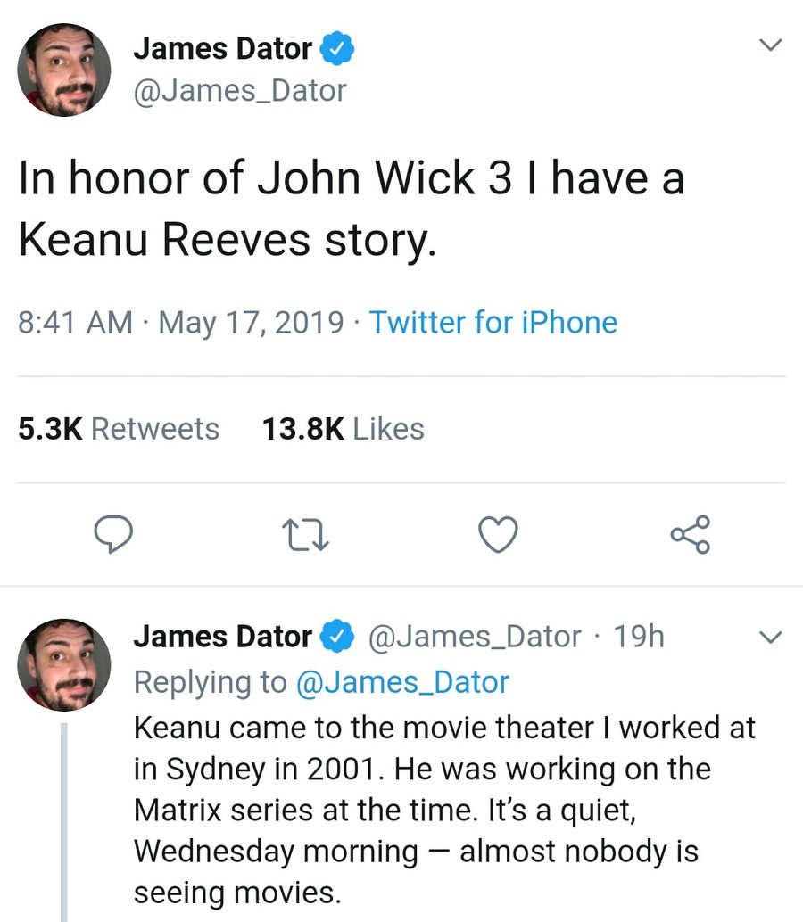 Keanu sees a movie. .. he's a decent actor and doesn't pretend his opinion on things matter. So...not bad