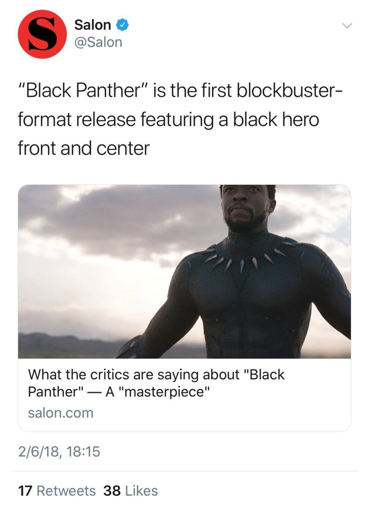 "Kicking down open doors. join list: PoliticsAndStuff (745 subs)Mention History. Salon 9 Notta'' Black Panther"" is the first blockbuster- format release featurin"