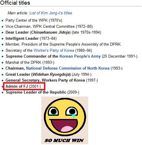 KIM JONG_IL 2001. rhis is my first time on the front page . :'D you guys rock. aofficial titles Main article: List of Kim ' s titles a Party Center of the WPK (