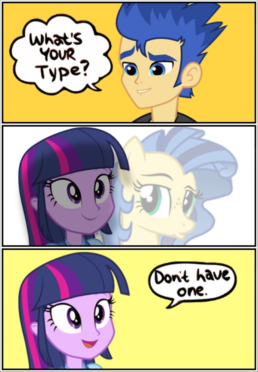 Kinky.. That pony sure does love ocs... Now that I think of it - Twilight is in Narcissist's heaven. She has two of her copycats - Starlight Glimmer and Sunset Shimmer, as well as herself, Sci-Twi as
