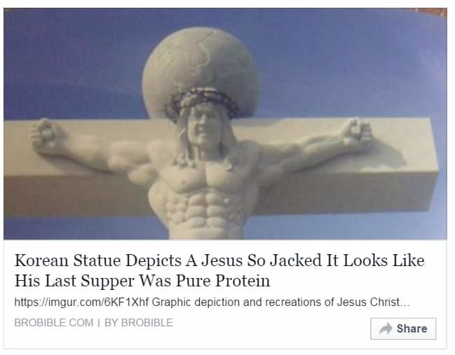 Koreans. . Ker' Statue Depicts A Jesus Se It) It Leeks Like His Last Supper Wee Pure tiel Graphic depiction end '& {If Jesus ' ___ all Share I. we already know Jesus was a kebab-removing, rainbow-emitting, post-apocalyptic kung-fu master