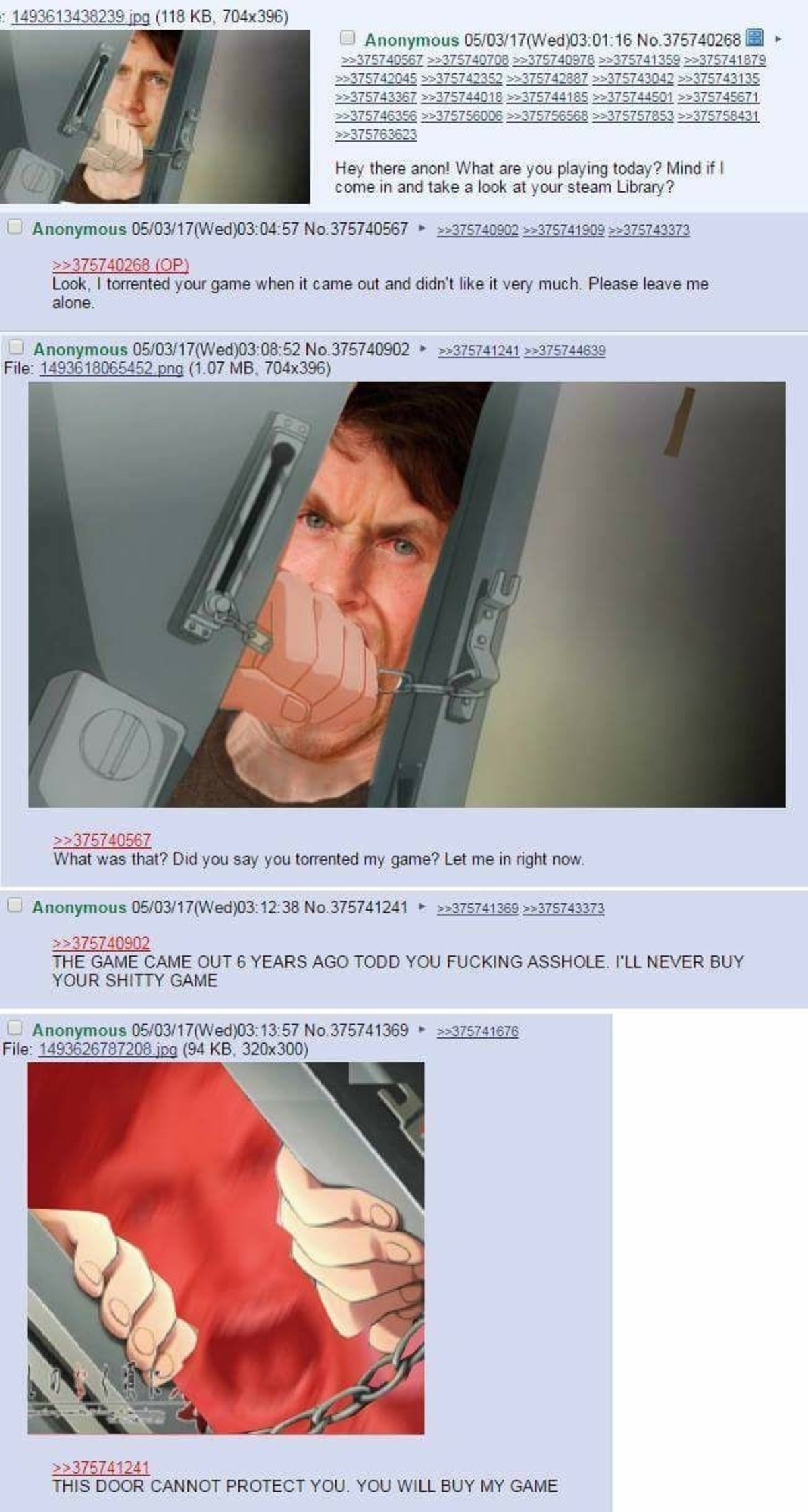 Let him in. join list: Chanoholic (311 subs)Mention History.. I bought both versions of skyrim to protect myself from todd's wrath