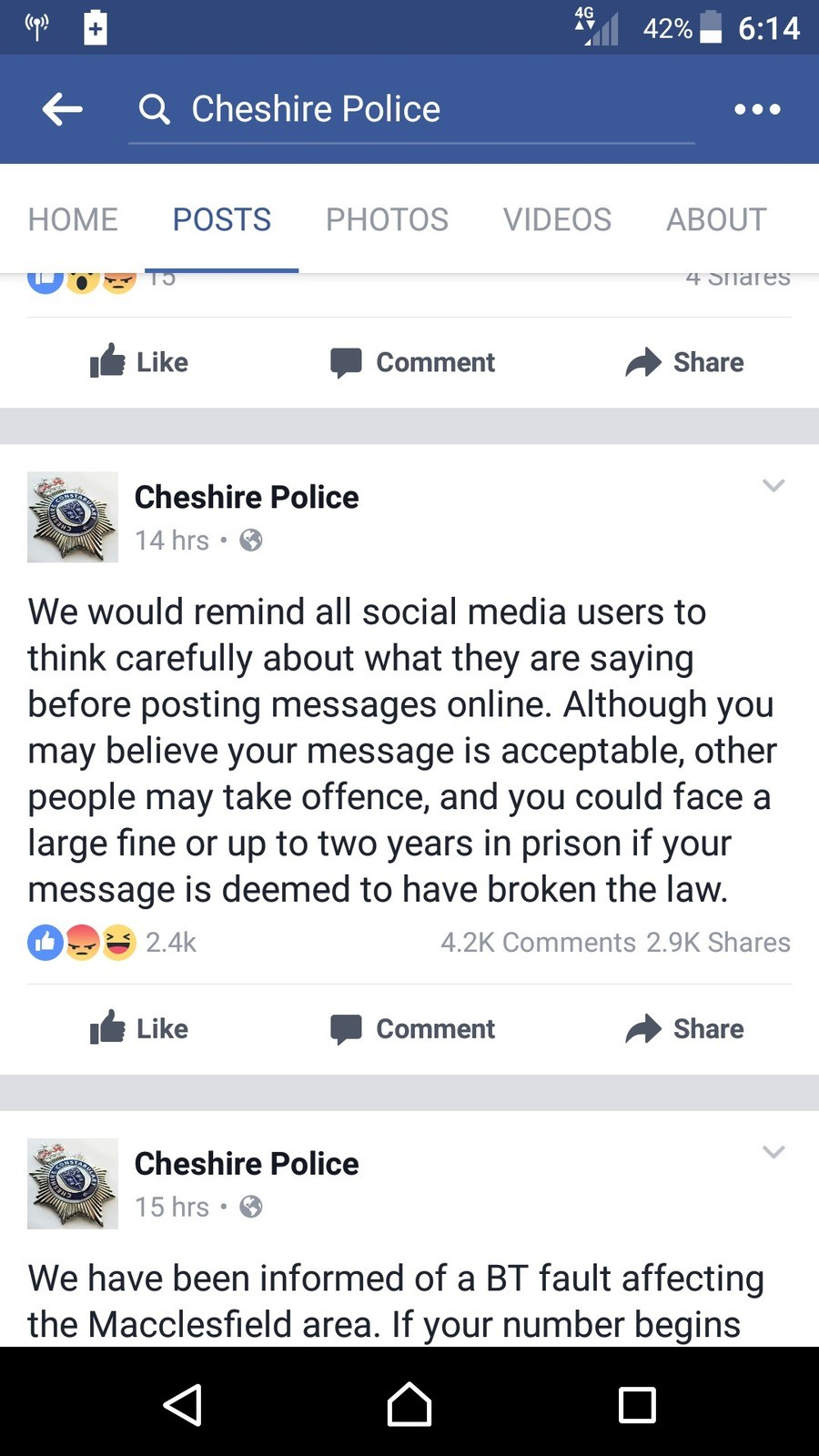 Let the storm begin. . Q Cheshire Police HOME POSTS PHOTOS VIDEOS ABOUT E' 5 cbll' clit! $ Like I Comment A Share Cheshire Police We would remind all social med