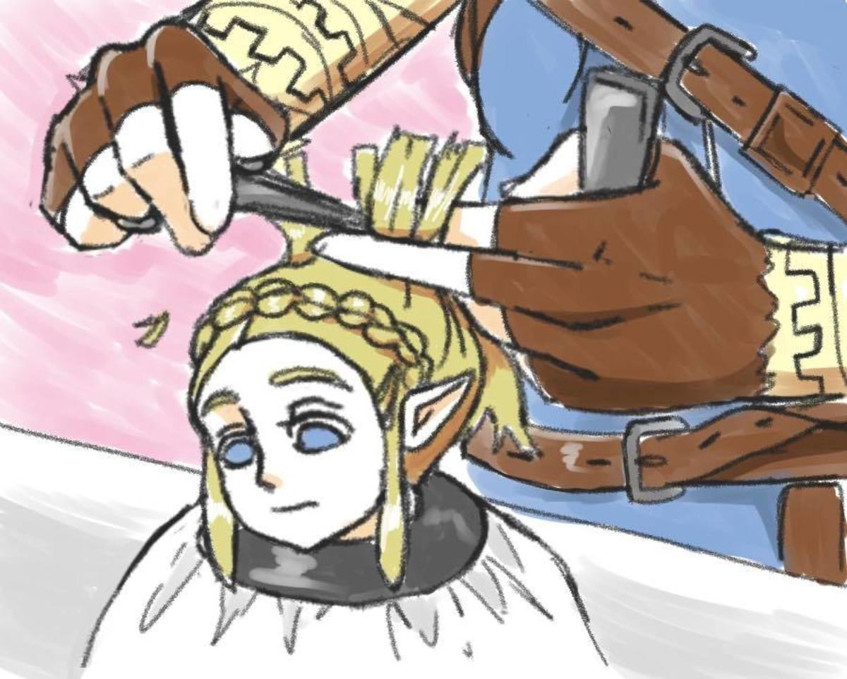 Link gives Zelda a trim.. .. He's a big guy.