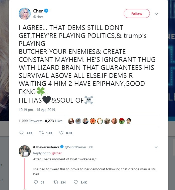 Lizard brain Trump : Cher. .. She mustve had an aneurism when Trump agreed with her, then proceeded to type a paragraph like that