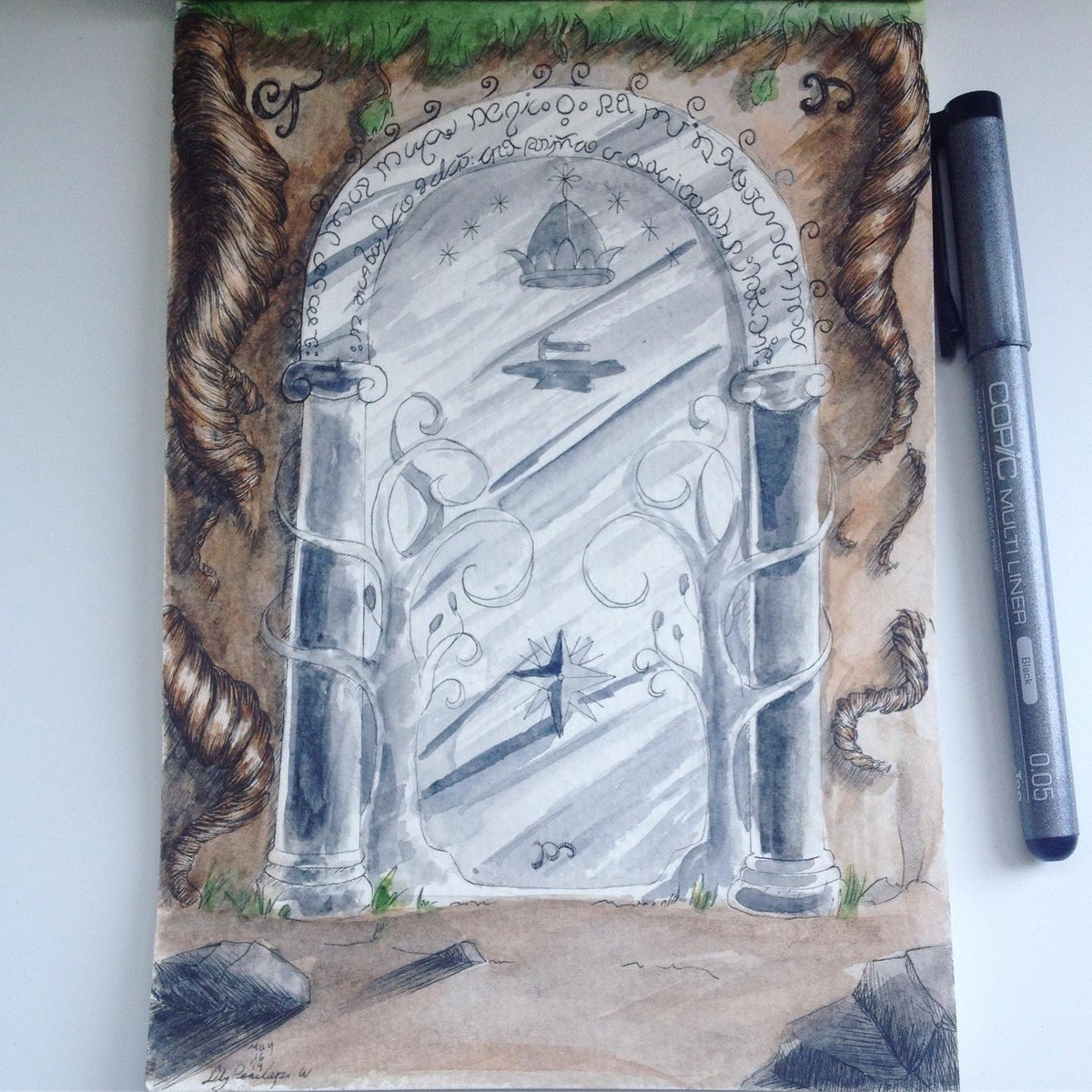 Lord Of the Rings door. Some LOTR fan art that I really enjoyed making. join list: WatercolorAndOrInk (6 subs)Mention History join list:.