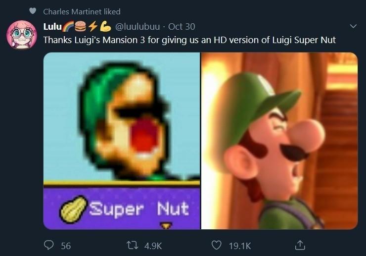 """Luigi. .. """"Charles Martinet liked"""""""