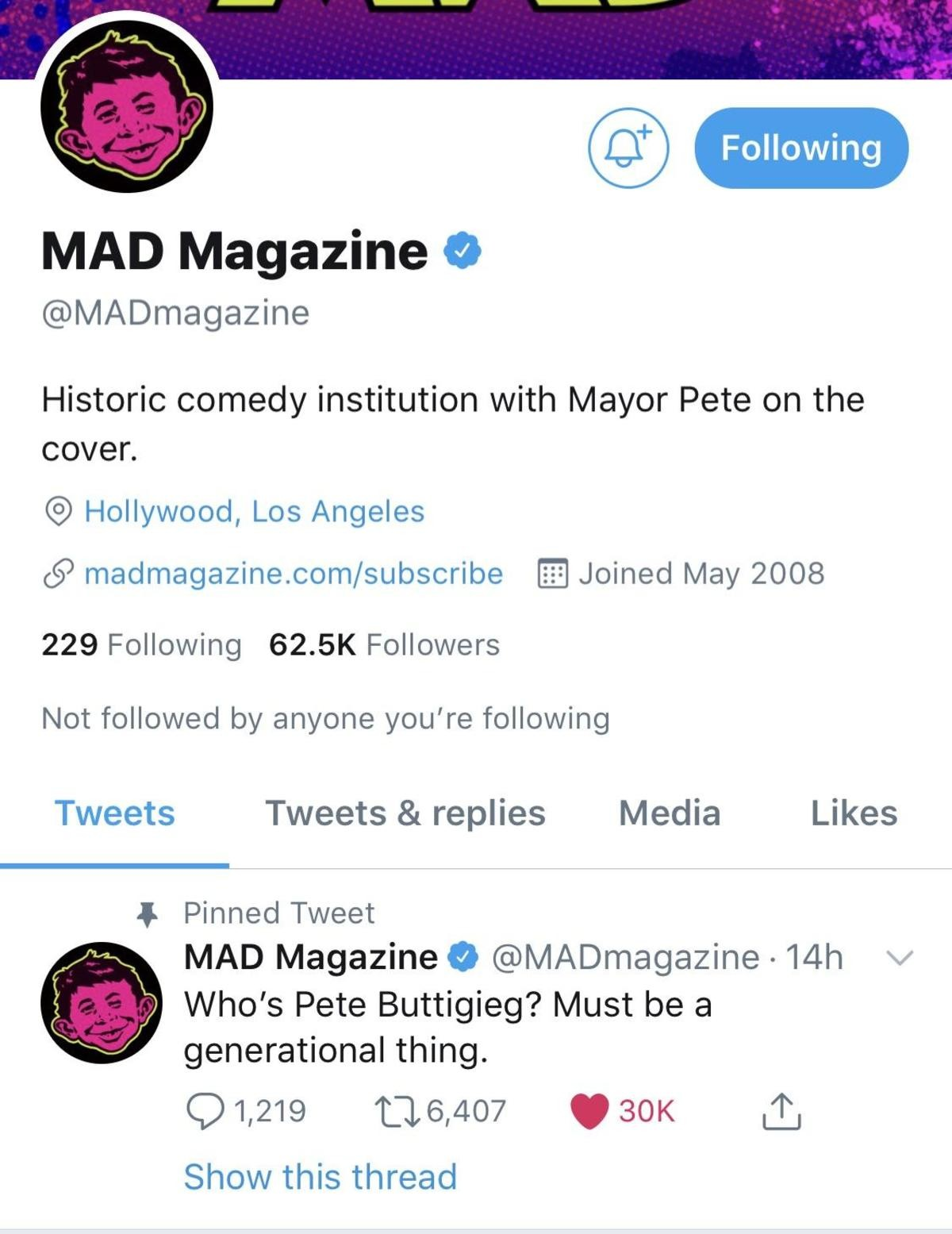 Mad Magazine doubling down. .. He was stupid to insinuate that Mad Magazine wasn't around anymore. Now whatever he gets from Mad Magazine he deserves.