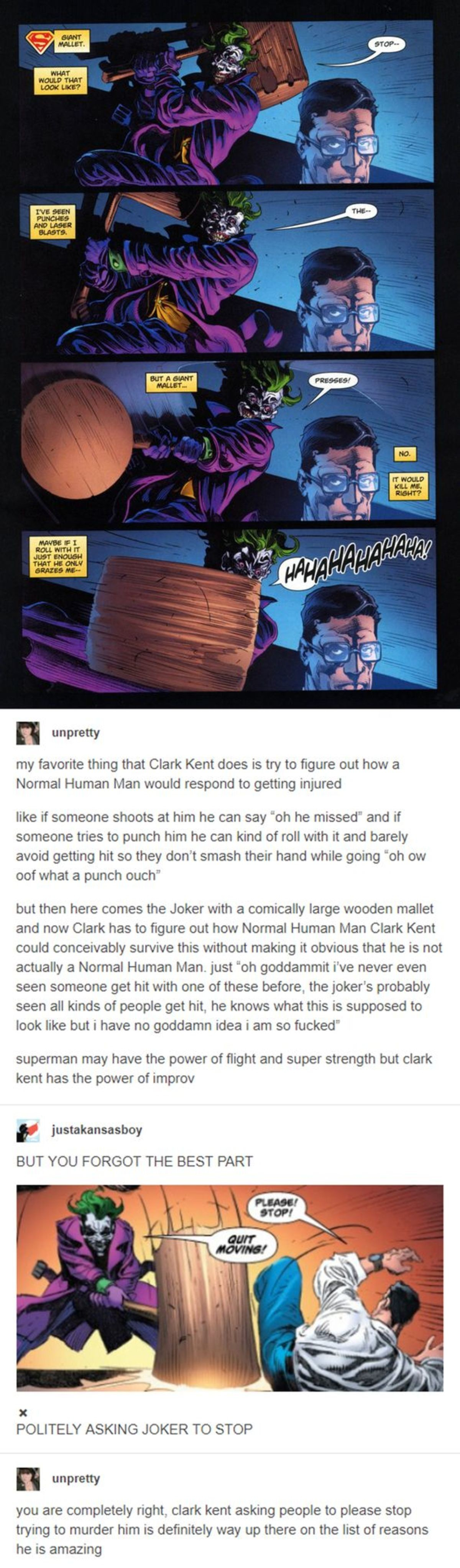 majestic true numberless Clam. .. Well, look at that, the Joker was finally involved in something funny.