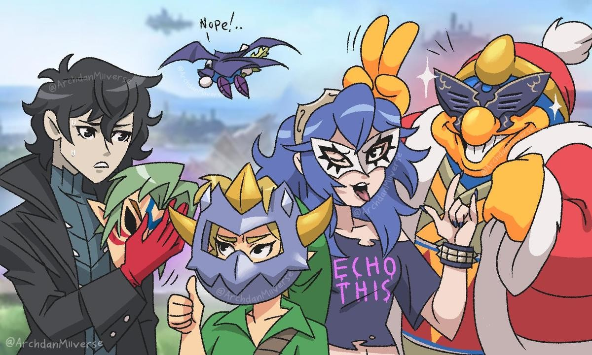 Mask Trade. Source: https://mobile.twitter.com/ArchdanMiiverse join list: PersonaPosts (257 subs)Mention History.. I've had thoughts about drawing something like this for a while, except Luigi's also there. I liked Super Paper Mario, sue me.