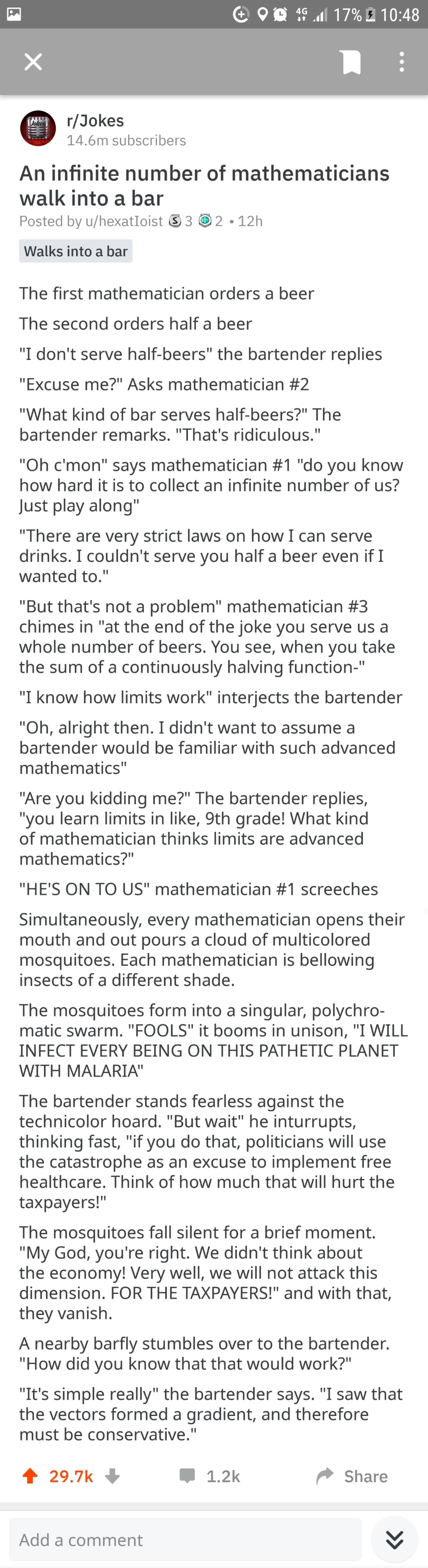 Maths. .. I feel like the characters of this joke became self aware and started writing the joke themselves.
