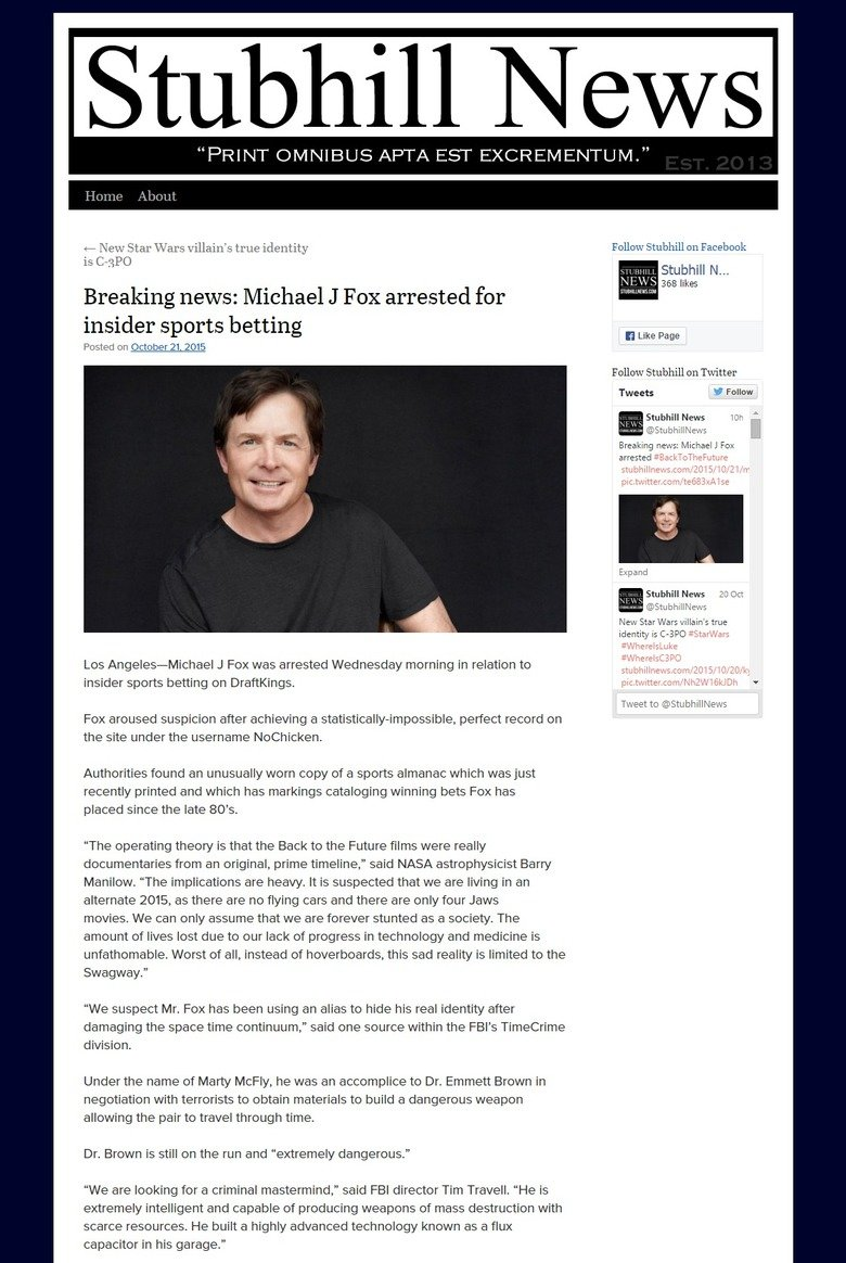 Michael J. Fox Arrested D:. He's probably visibly shaken up over this. http://stubhillnews.com/2015/10/21/michael-j-fox-arrested/. PRINT ' EPTA EST ! ciivil! ll
