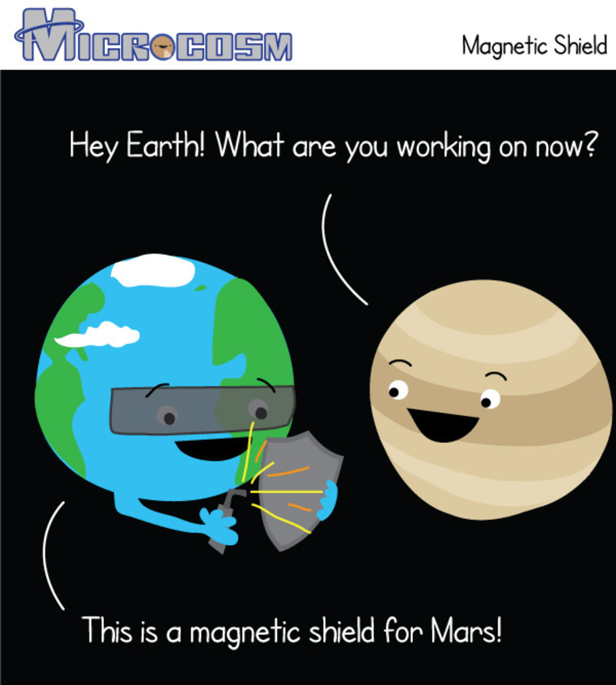Microcosm - Magnetic Shield. . Hey are you working on now? This is an shield For Mars!. And that's the story of how Earth gave Mars crabs.