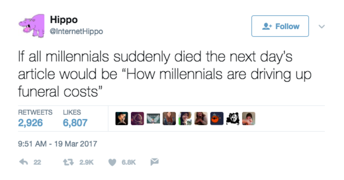 Millennials Killing... Themselves?. .. Nah. There would just be a need for mass graves.