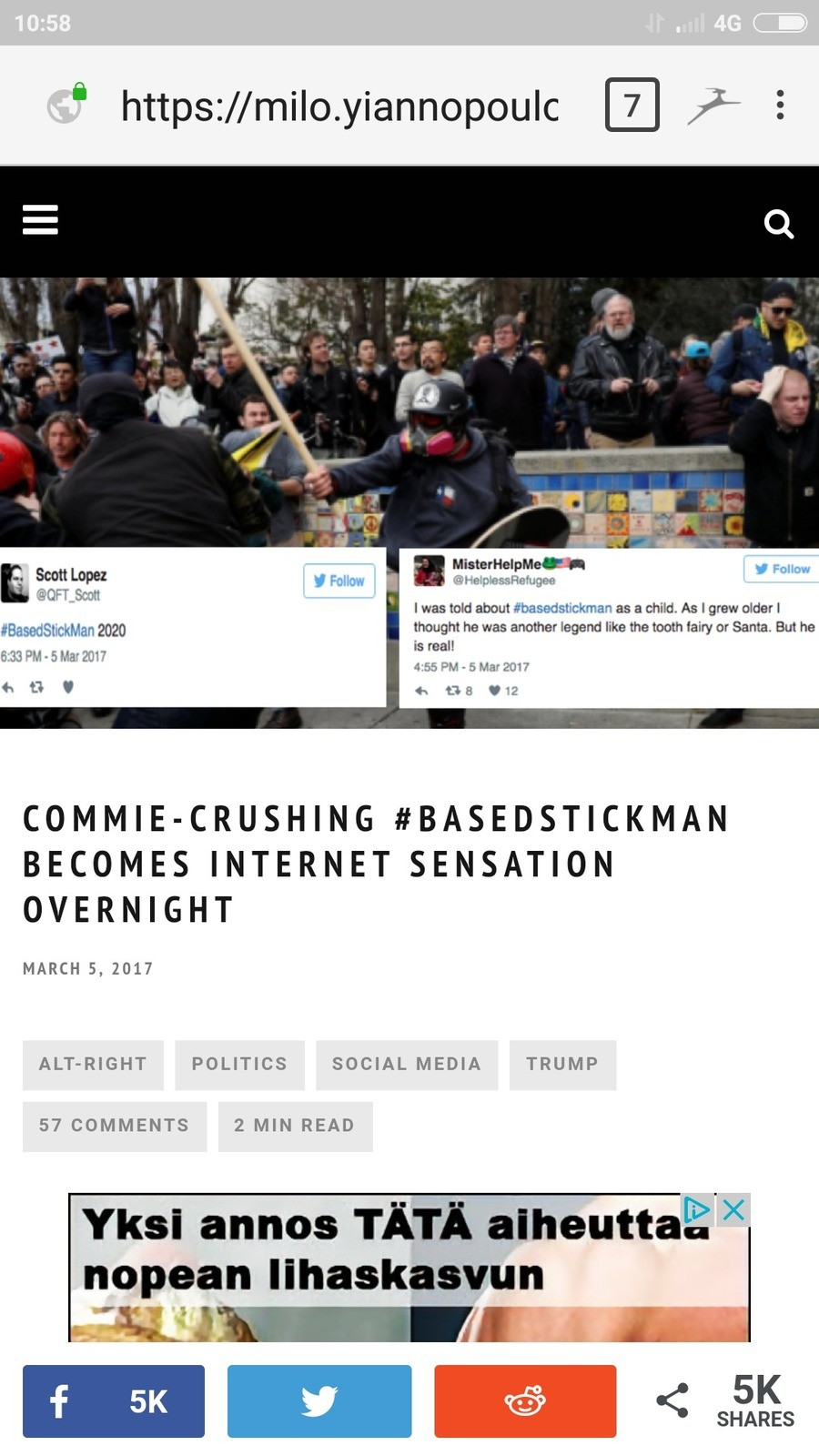 Milo writes about #BasedStickman. https://milo.yiannopoulos.net/2017/03/commie-crushing-basedstickman-becomes-internet-sensation-overnight/ join list: Political