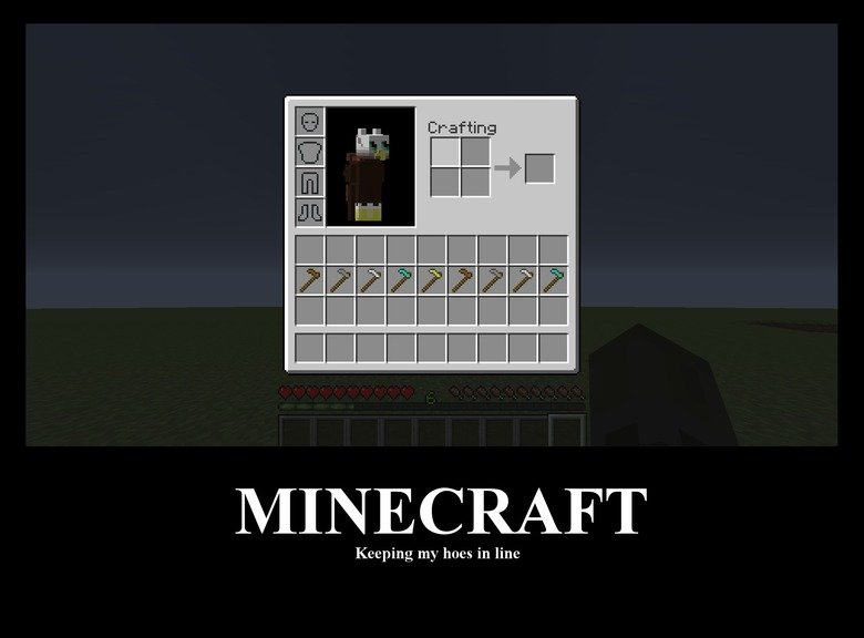 Minecraft. Gotta keep 'dem hoes in line.. This hoe is stupid.