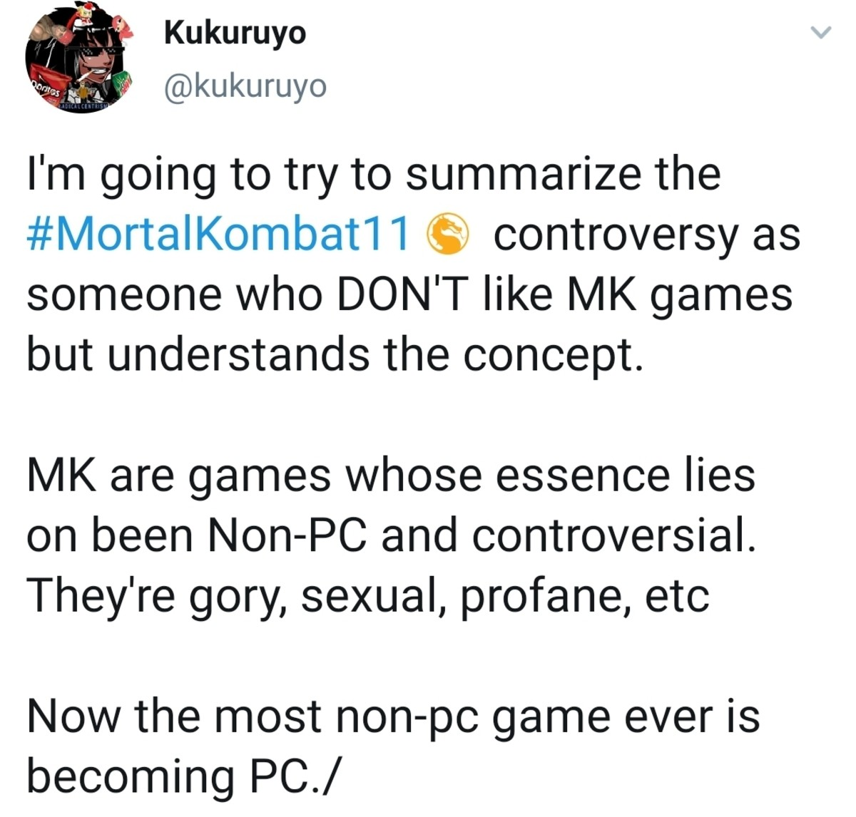 mk11 controversy summed up. .. This is exactly what i hate about PC culture