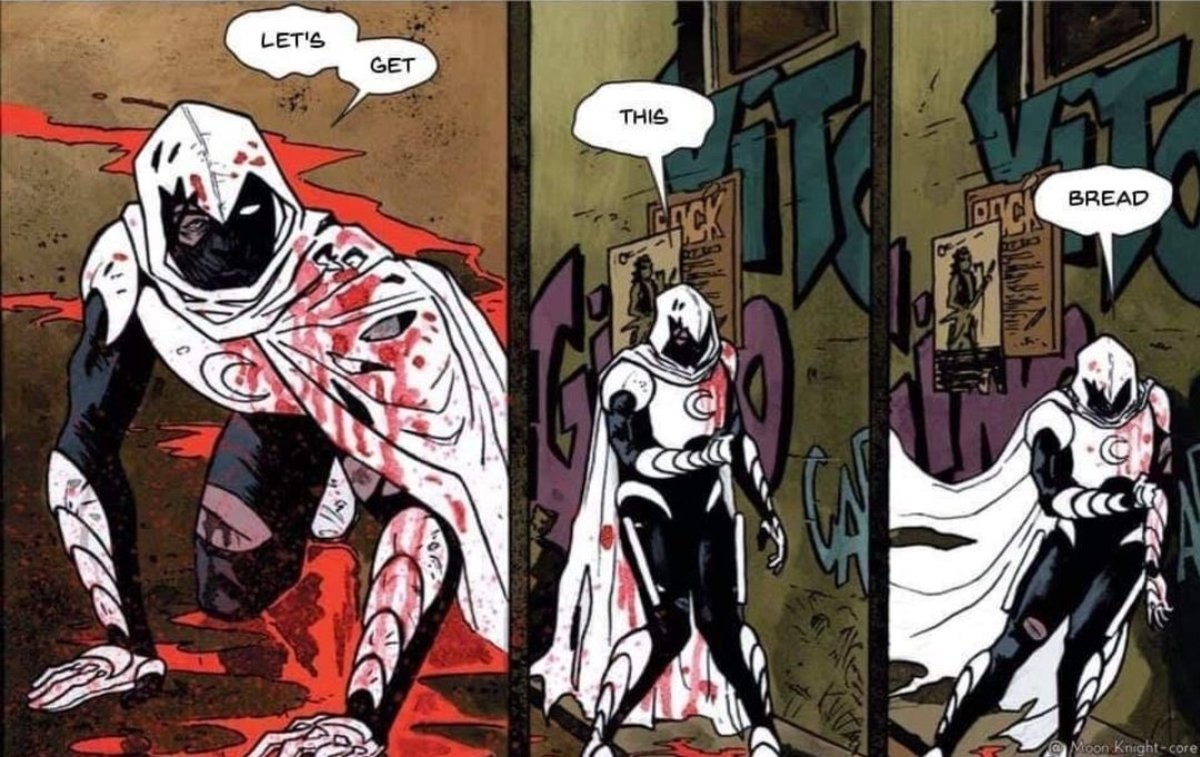 Moon Kht. .. I can never tell if these are edits or Moon Knight being Moon Knight