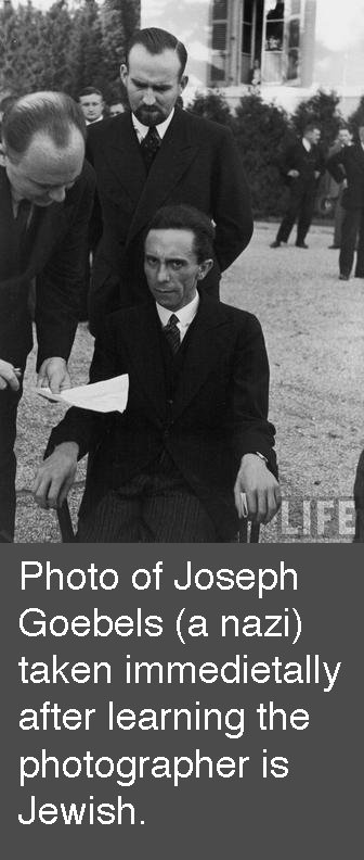 Morbid. OC.. Photo of Joseph Goebels (a nazi) taken immediatelly after learning the photographer is Jewish.. photographer's face