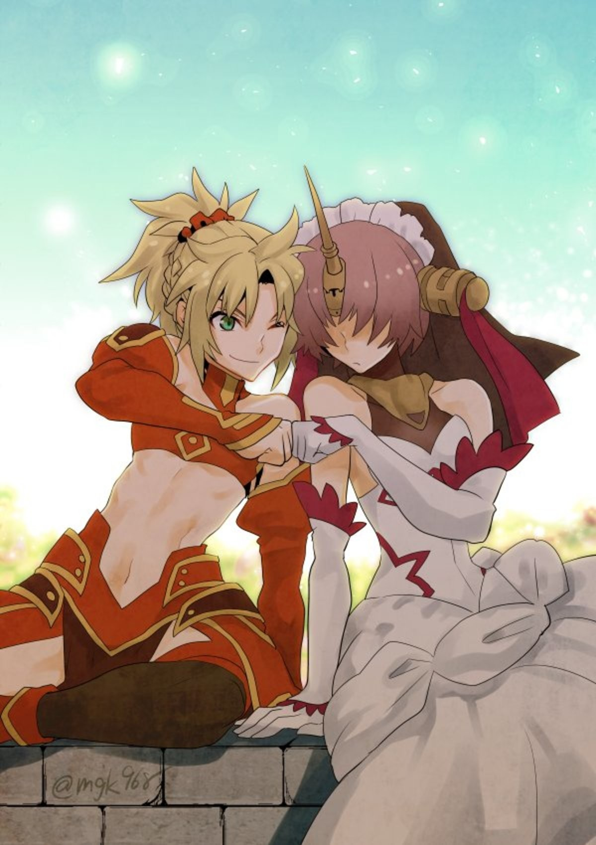 Mordred and Fran Fistbumping. Source First Picture https://twitter.com/mgk968/status/991627733384884225 Second Picture theapocryphacmeng/ https://twitter.com/im