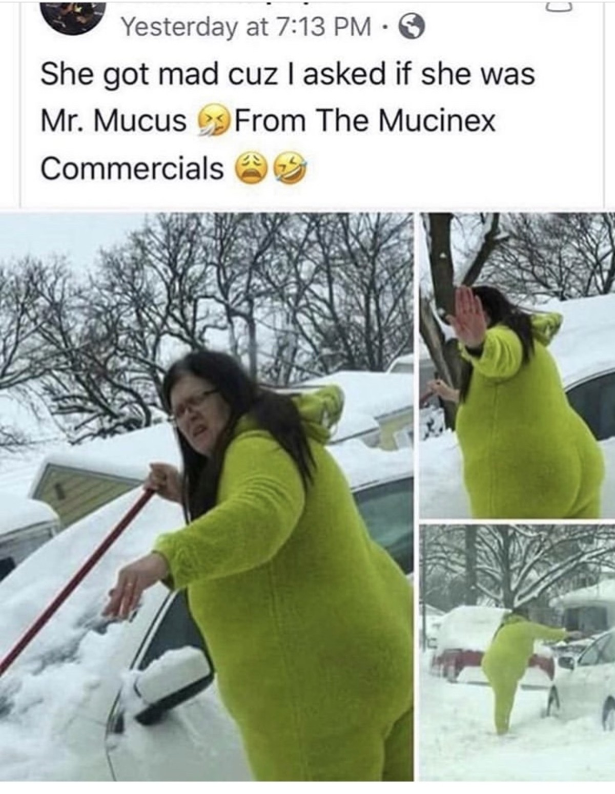 Morning Roast. I want those pajamas though.. I'm all for mocking someone for their behavior. But the lady is just cleaning off her car. The only asshole in this is the person taking the pictures.