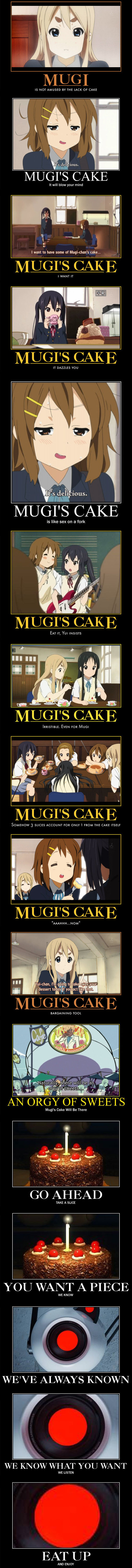 Mugi's Cake. Is it a Lie? (K-On Mots are not mine, portal mots are original) I was torn between animemanga and morbid-channel, I thought it wasn't creepy enough