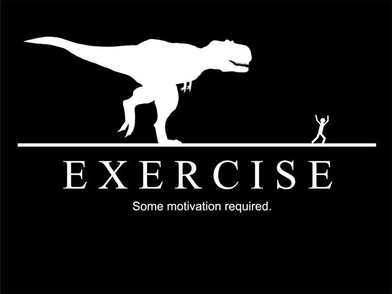 My New Year's Resolution: Exercise more. Some motivation required.. Wouldn't work. 1st) The Tyrannosaurus cannot run. 2nd) The Tyrannosaurus' eye-sight is dependent on movement. In otherwords, stand around doing nothing, and it