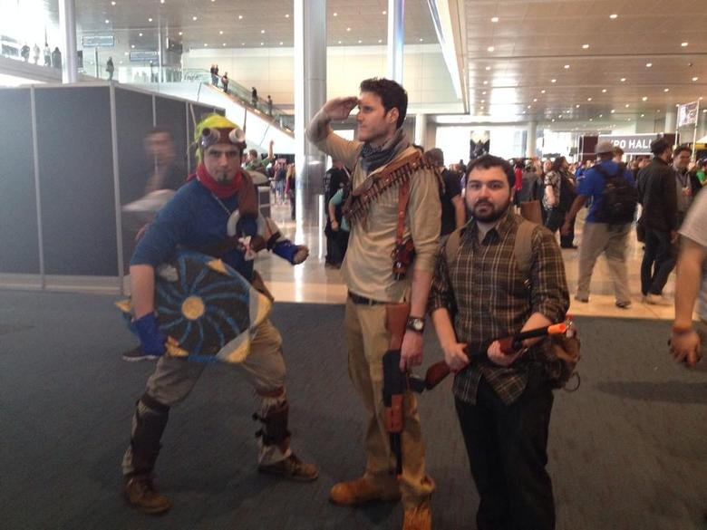 Naughty dog trio. I did a cosplay of Jak at PAX East this past weekend. I'm on the left (Obviously) and I ran into Nathan Drake and Joel. If only we could have