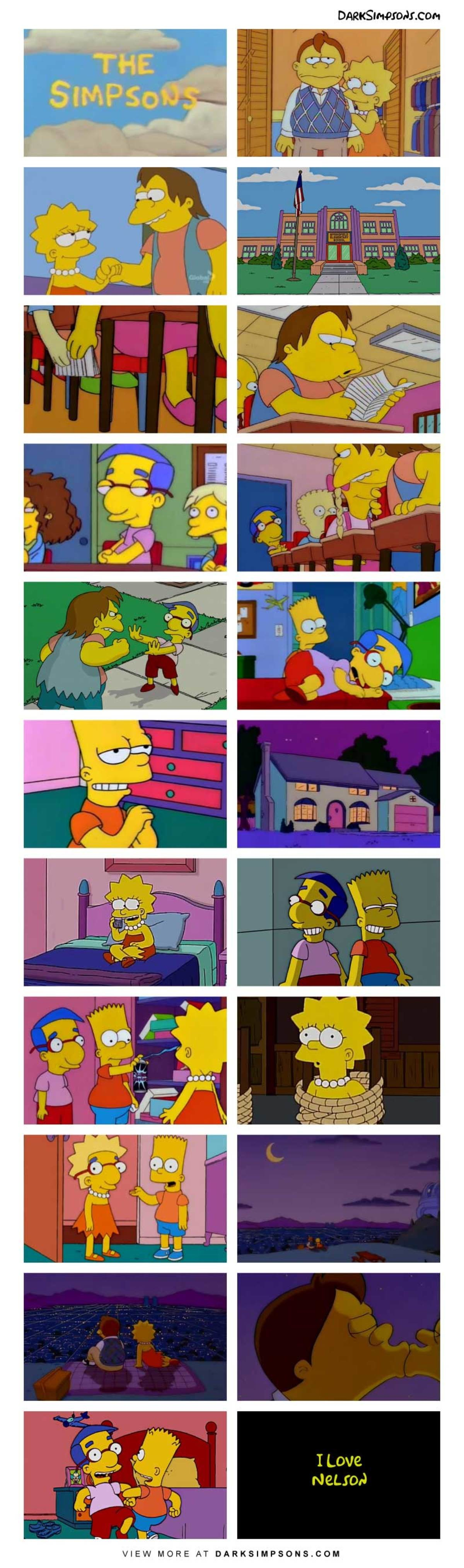 Nelson: Guess who likes you?. . VIEW MORE AT ,X. ,. The fact that the panels aren't shown so Lisa face is seen is really creative Whoever makes these deserves a prize I dunno, give him corn, people love corn