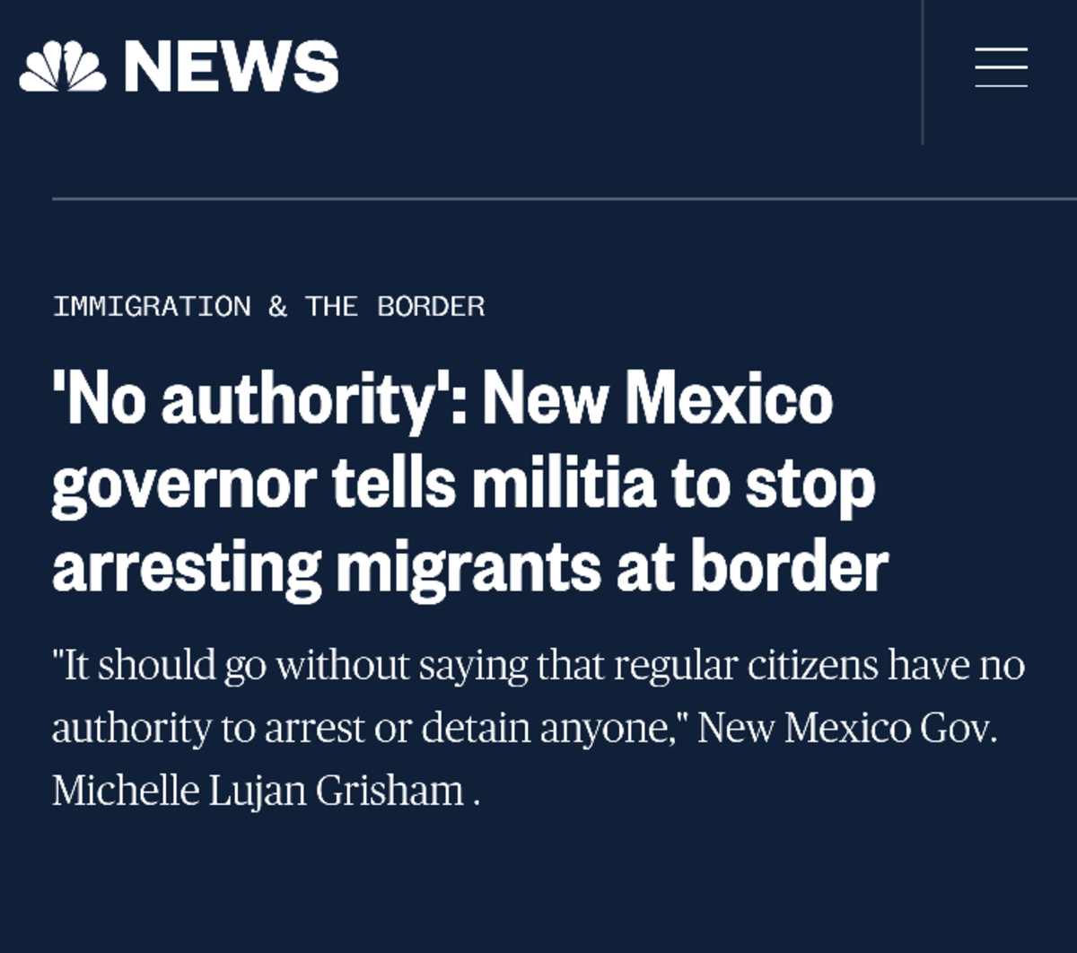New Mexico governor goes full retard. Source: https://www.nbcnews.com/news/amp/ncna996516.. She has every right to be mad at the militia. They are getting rid of potential Democrat voters of the future