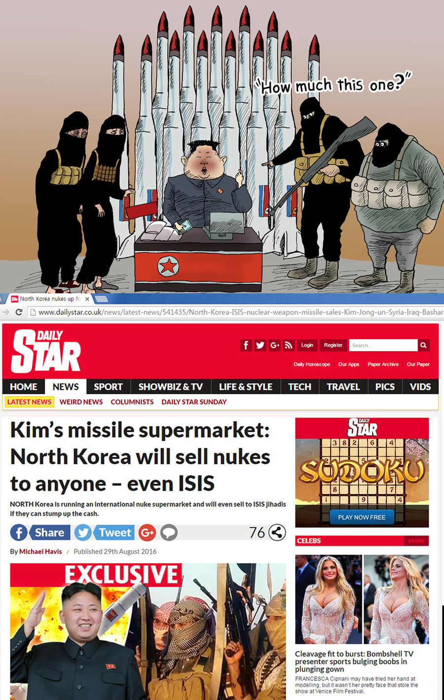 "NK will sell nuclear weapons to enemies. . SPURT I. & "" I' LE TECH TRAVEL PICS VIBE COLUMNISTS Kim' s missile supermarket: North Korea will sell nukes to anyone"