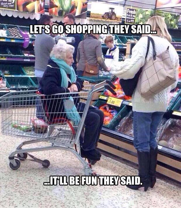 no funny title here, sorry. In the picture you can see elerly woman sitting in a cart while watching and waiting for her, I assume, daughter. You cannot be sure