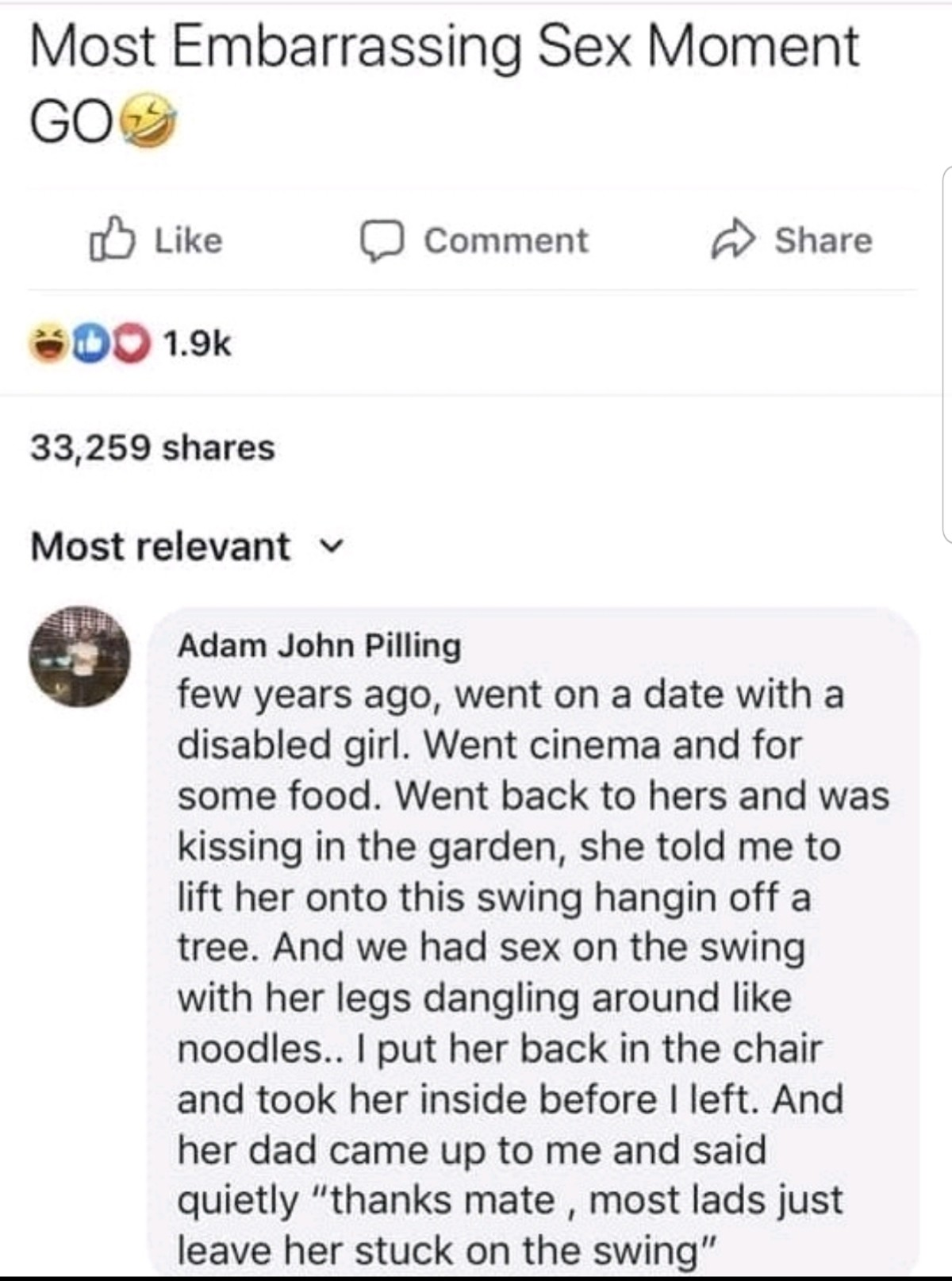 Noodles. .. Fun fact women who are para or quadriplegic can still experience normal orgasms unlike men in the same situation. This is because the female orgasm stems from t