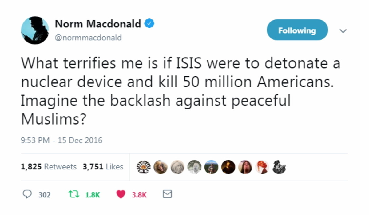 Norm McDonald is a National Treasure. .. Well said norm. For everyone who doesn't get this, norm is a comedian. He's poking fun at the way that seemingly no one cares about murdered Americans in this d
