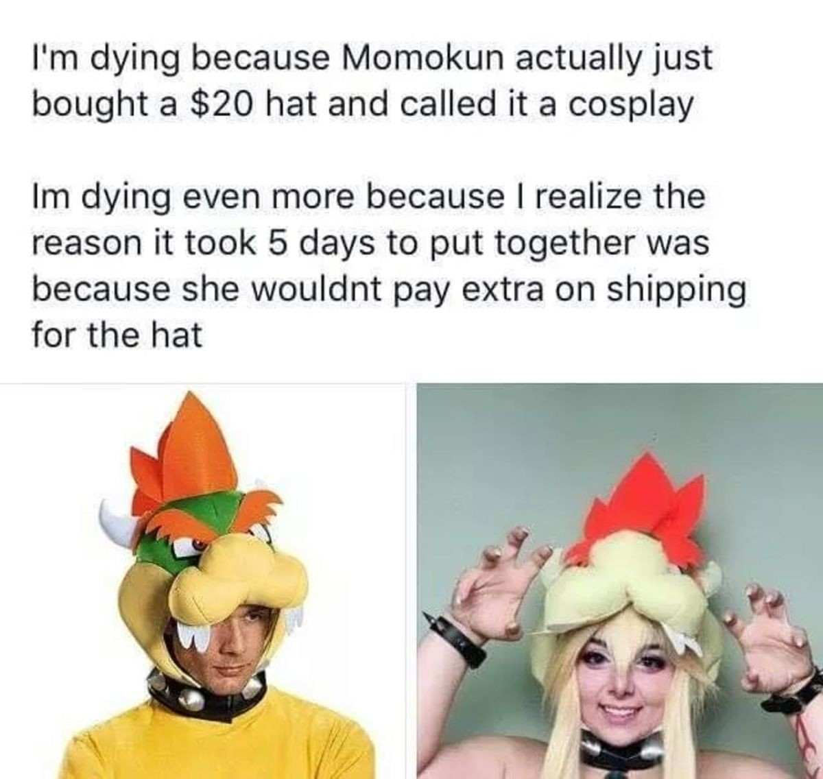 Not posting the full picture so you dont have to see the thot. .. For those who don't know: Momokun is one of the most hated Cosplayers in the cosplaying community, she is known for her sexist behavior towards other cosplayers