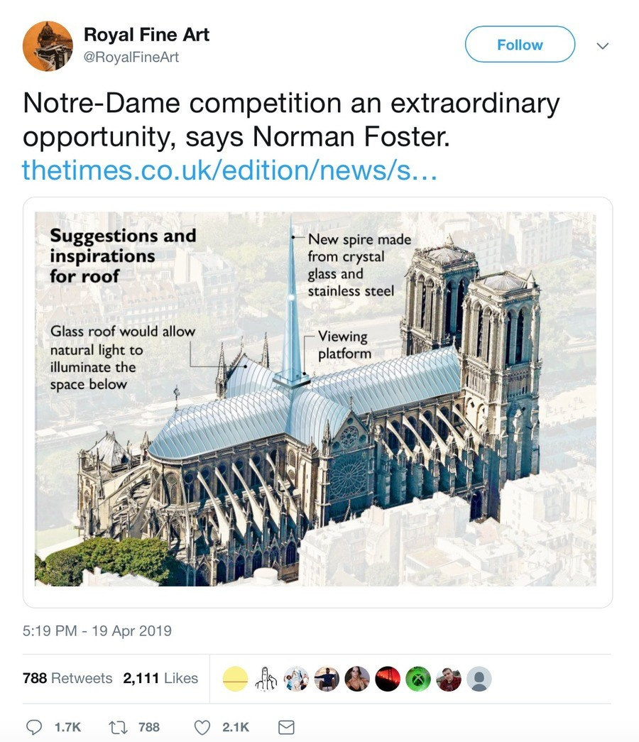 Notre Dame redesign. .. sound great until you have to think about how much bird poop will need to be cleaned daily. also can't we keep it the same? these old churches feel so quiet and
