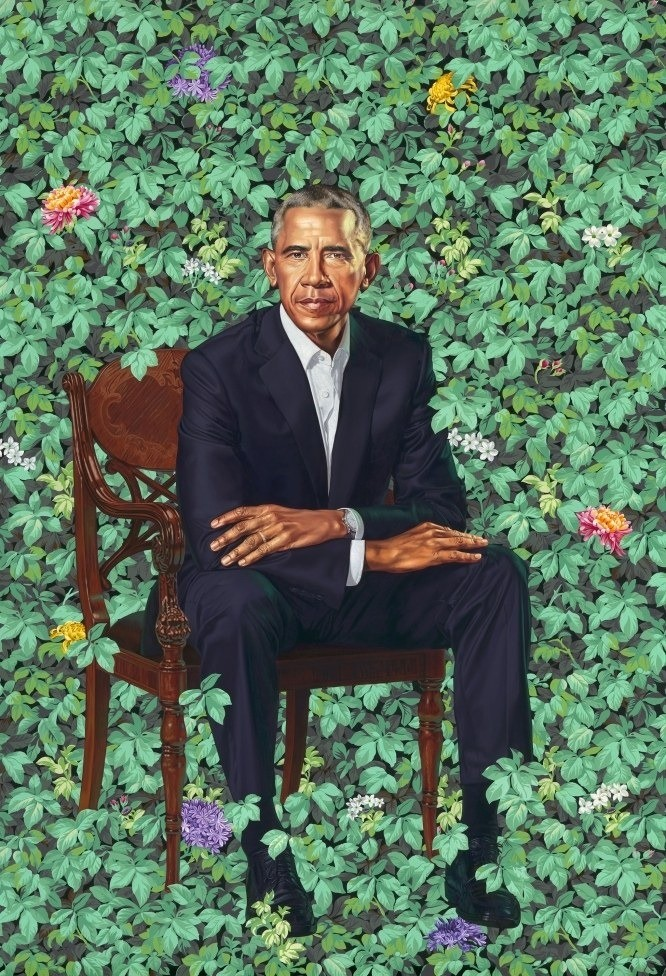 Obama Presidential portrait. This is the Presidential portrait, it hack, really the guy must have used stencils for the leaves and no I didn't make it this wash