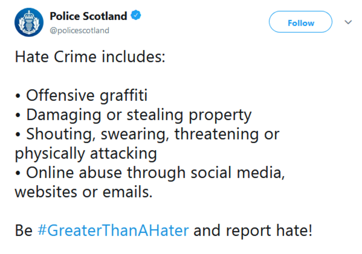 """Oi wheres your shouting license?. . Police Scotland 9 ("""""""" Follow ''''h) Notr Hate Crime includes: o Offensive graffiti o Damaging or stealing property Shouting,"""